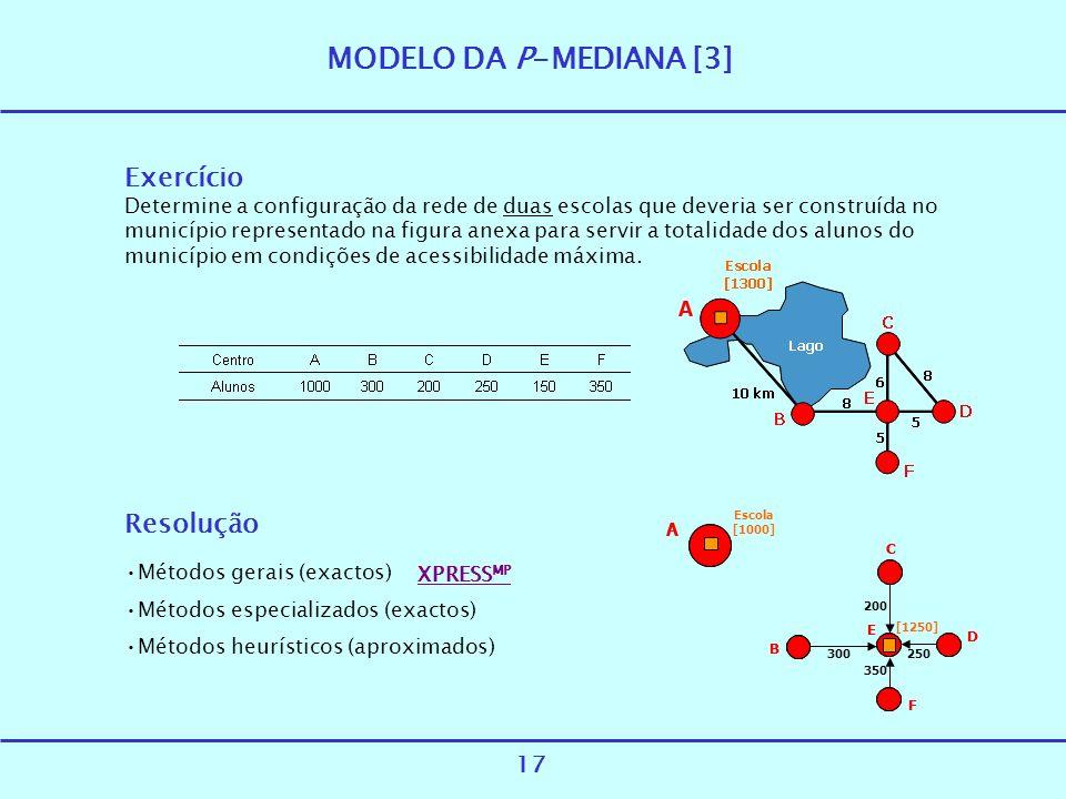 MODELO DA P-MEDIANA [3] Exercício Resolução